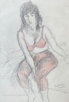 """Seated Model in Red Bra"""
