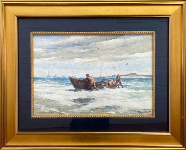 """The Lobstermen"" - Gray Landscape Art by Gordon Grant"
