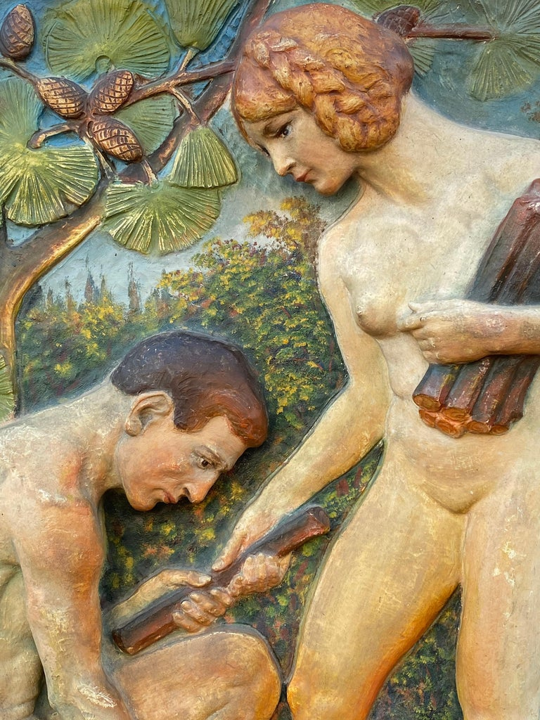 """Adam and Eve"" - Art Deco Sculpture by Virgil Rainer"
