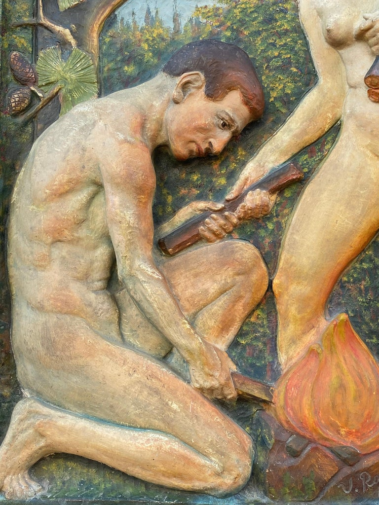 """""""Adam and Eve"""" - Brown Figurative Sculpture by Virgil Rainer"""