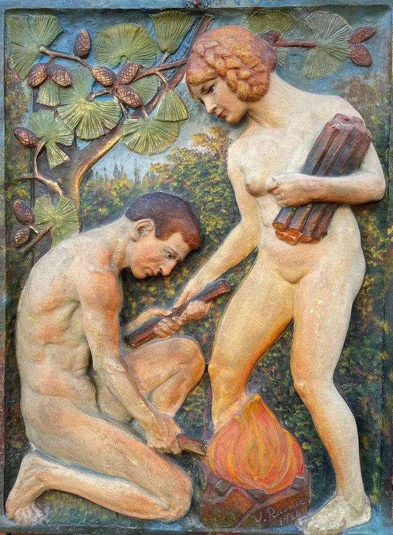 "Virgil Rainer Figurative Sculpture - ""Adam and Eve"""