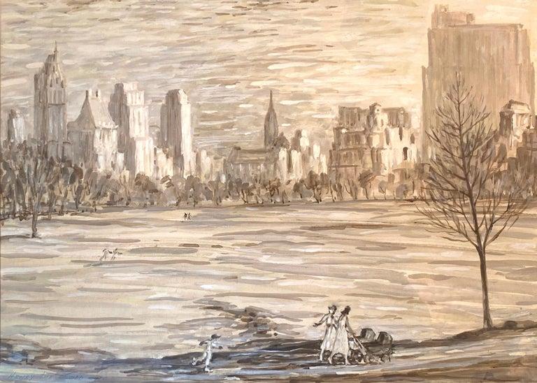 """Henry Ives Cobb, Jr. Landscape Art - """"Strollers in Central Park"""""""