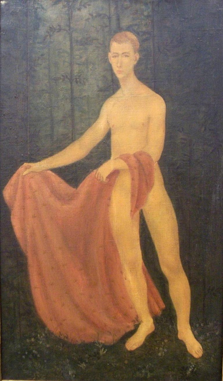 Jack Henderson Figurative Painting - Young Male Model with Red Drape