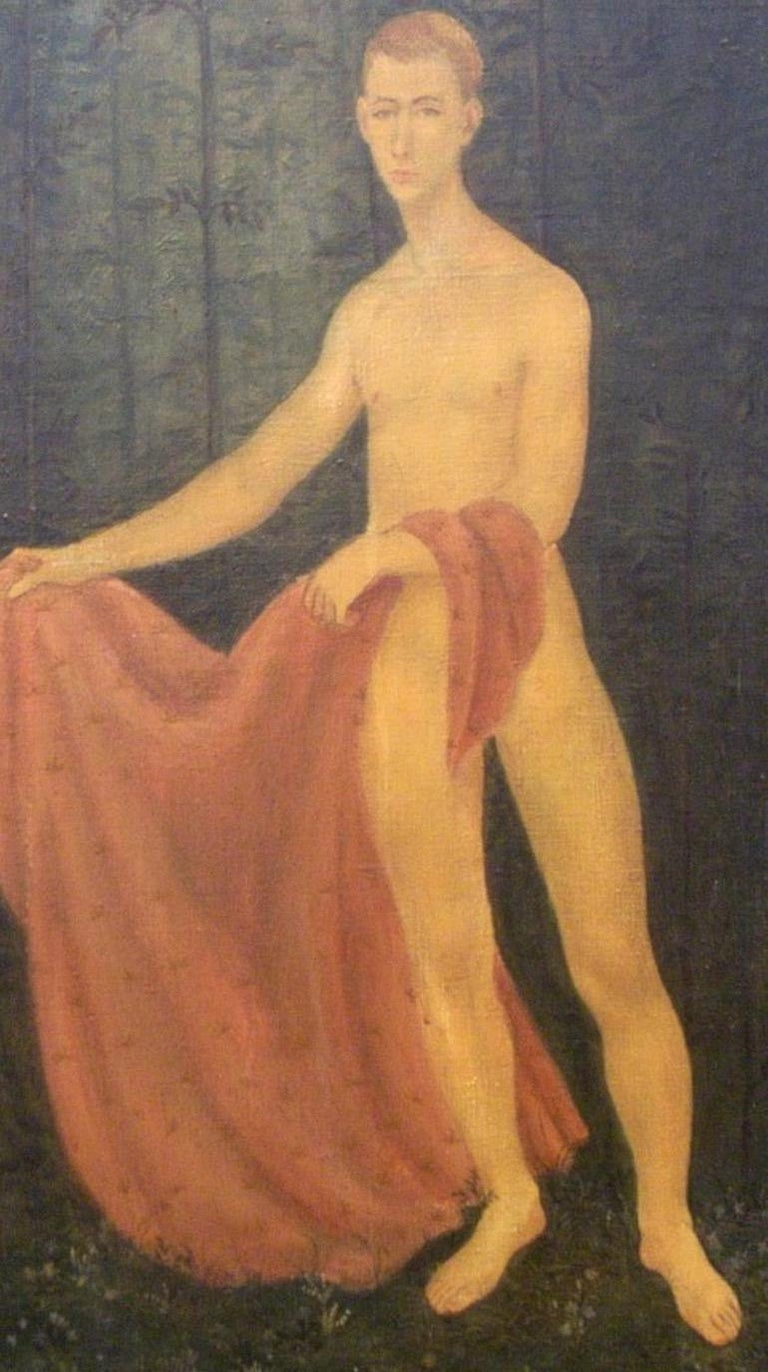 Young Male Model with Red Drape - American Realist Painting by Jack Henderson