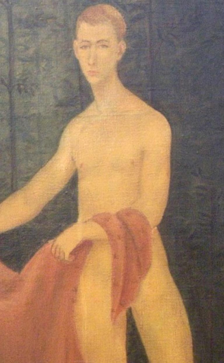 Young Male Model with Red Drape - Gray Figurative Painting by Jack Henderson