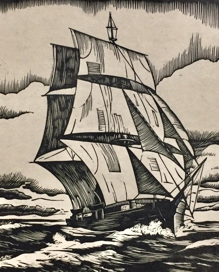 Whaler - Beige Landscape Print by Henry R. Diamond