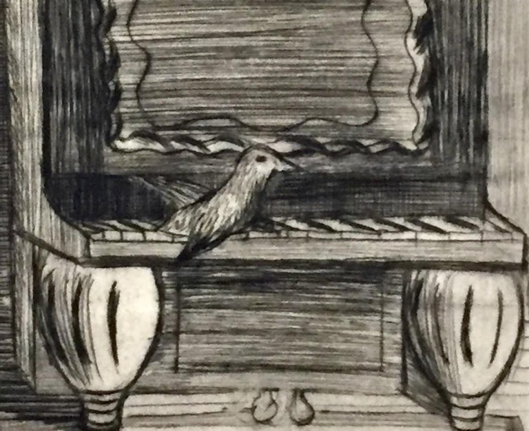 Bird on Piano - Beige Animal Print by Bernard Sanders