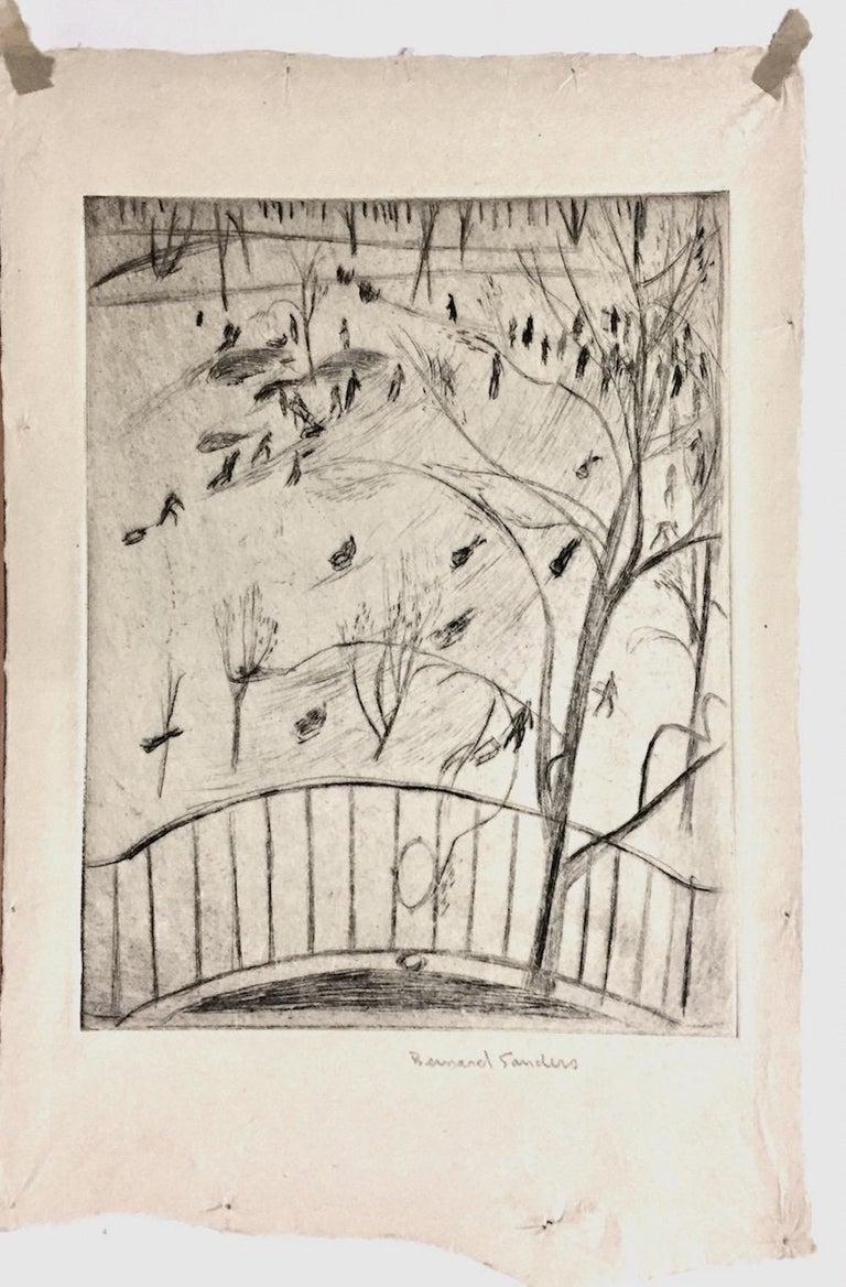 Sledding in Central Park, NYC - Print by Bernard Sanders