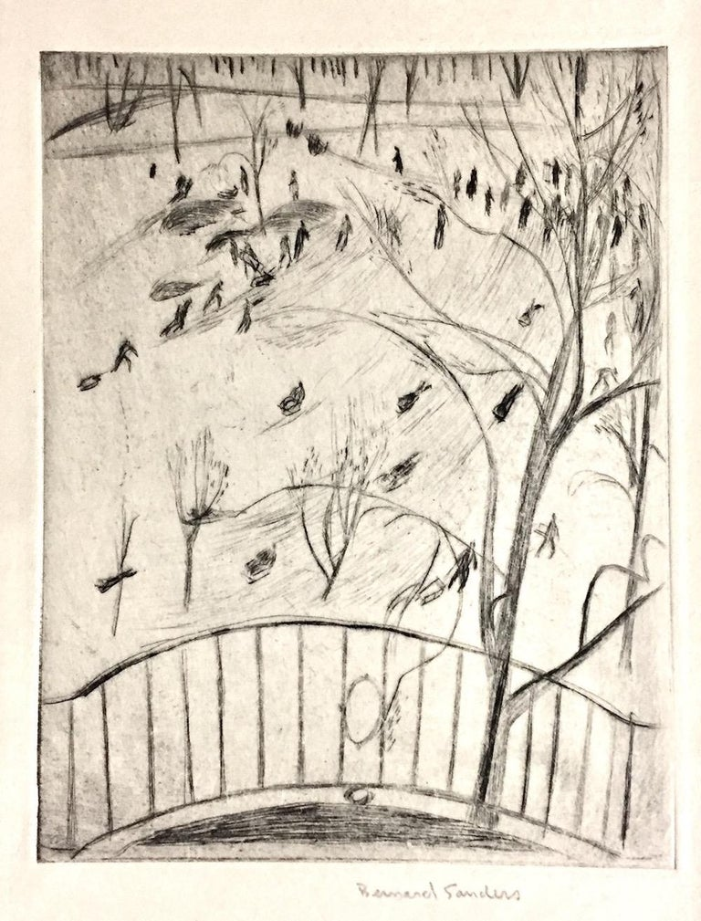 Bernard Sanders Landscape Print - Sledding in Central Park, NYC