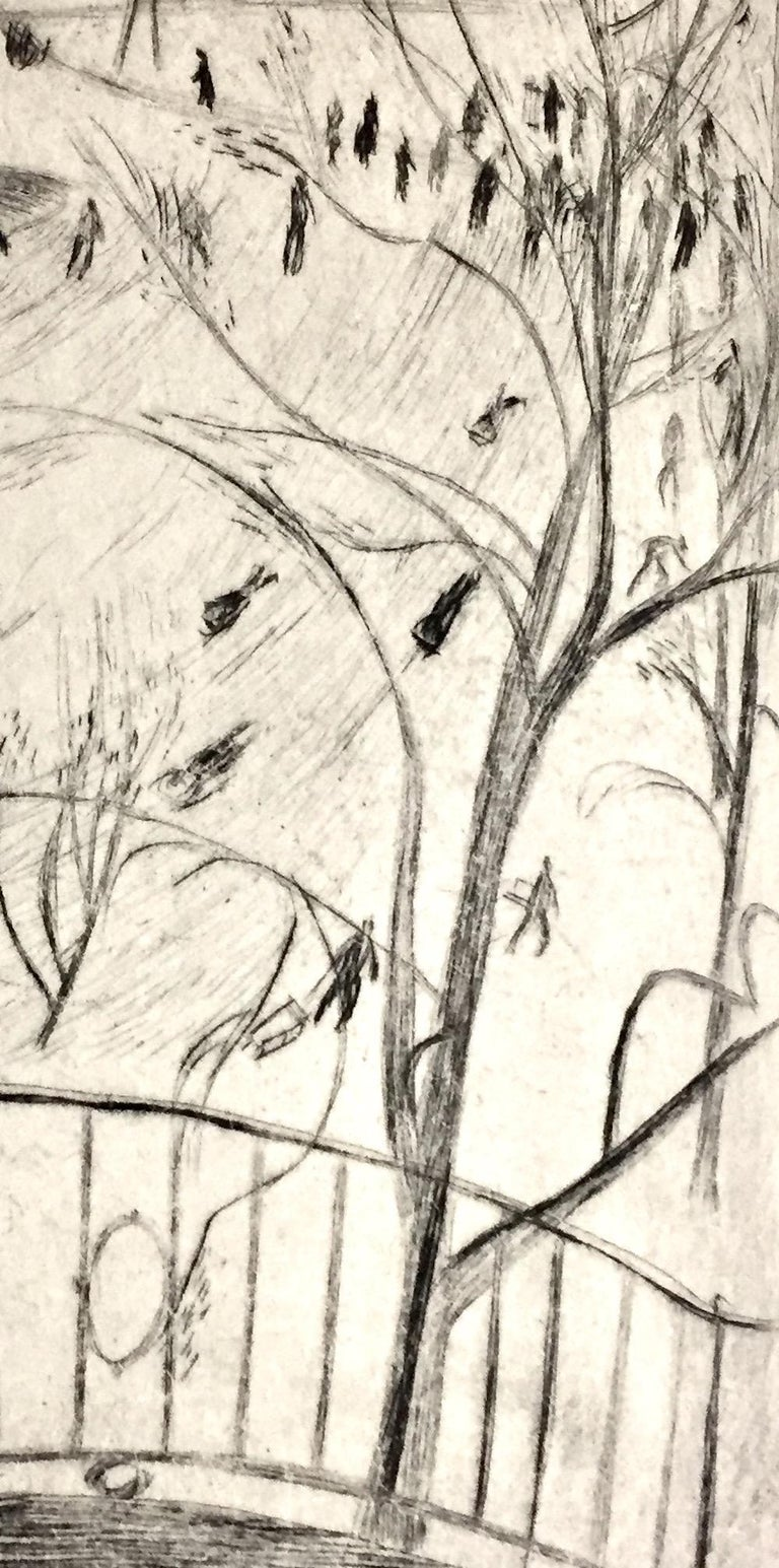 Sledding in Central Park, NYC - Beige Landscape Print by Bernard Sanders