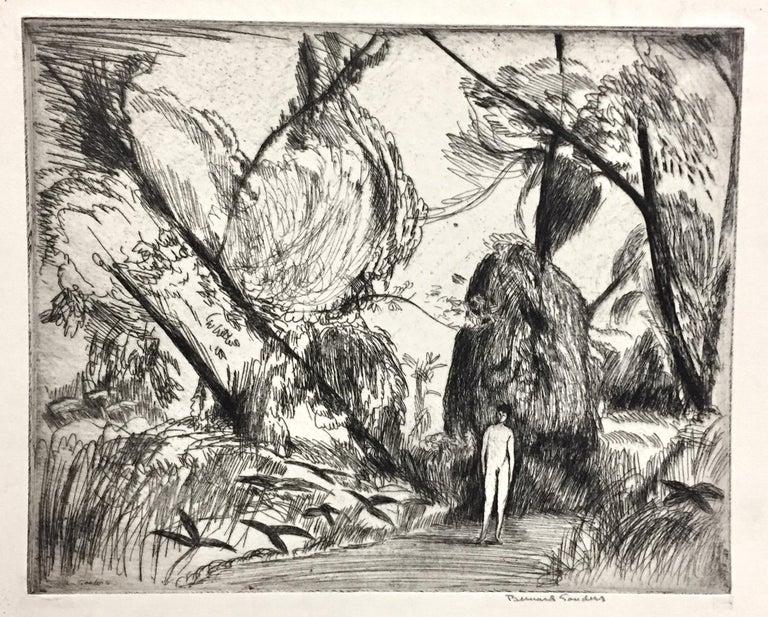 Bernard Sanders Figurative Print - Boy in the woods
