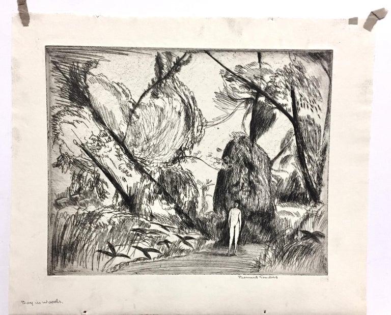 Boy in the woods - Print by Bernard Sanders