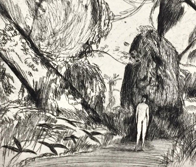 Boy in the woods - American Modern Print by Bernard Sanders