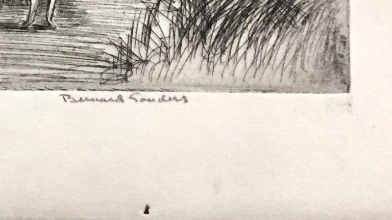 Boy in the woods - Gray Figurative Print by Bernard Sanders