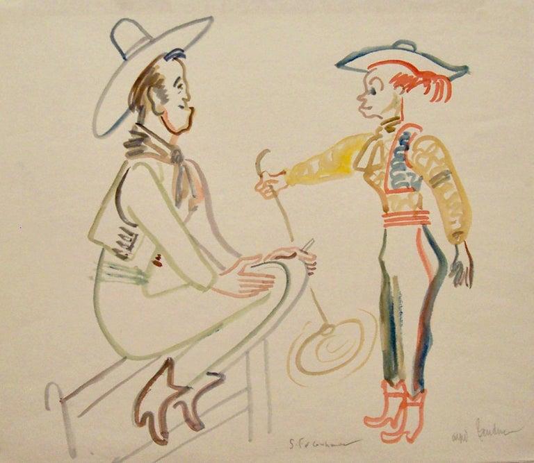 Alfred Bendiner Figurative Art - Santa Fe Cowhands