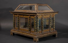 Parcel gilt and lacquered wooden Casket