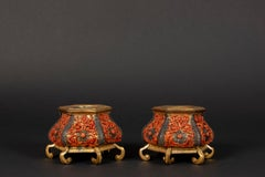 Pair of Trapani hexagonal inkpots in coral, gilded copper and silver