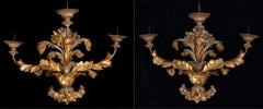 Genoese artist, XVII century, Three-armed candlestick, lacquered and gilded