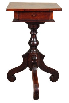 Lombardia, XVII century, square tripod inlaid small table