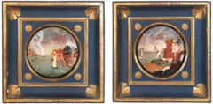 Florence, Opificio delle Pietre Dure, hard stones commesso, two port views, XVII