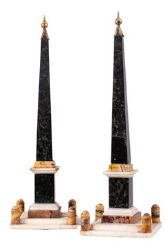 Small pair of obelisks in polychromes marble