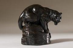 """Bronze Sculpture """"Mountain Lion"""" animalier, wildlife piece"""