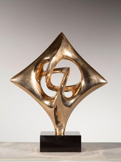 Folkloric Fado, Gold Abstract Sculpture