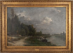 French Barbizon landscape along River