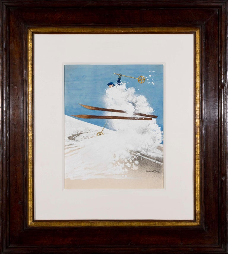 Untitled (Skier) - Rudolf Bauer, skiing, snow, modern, illustration, design - Modern Art by Rudolf Bauer