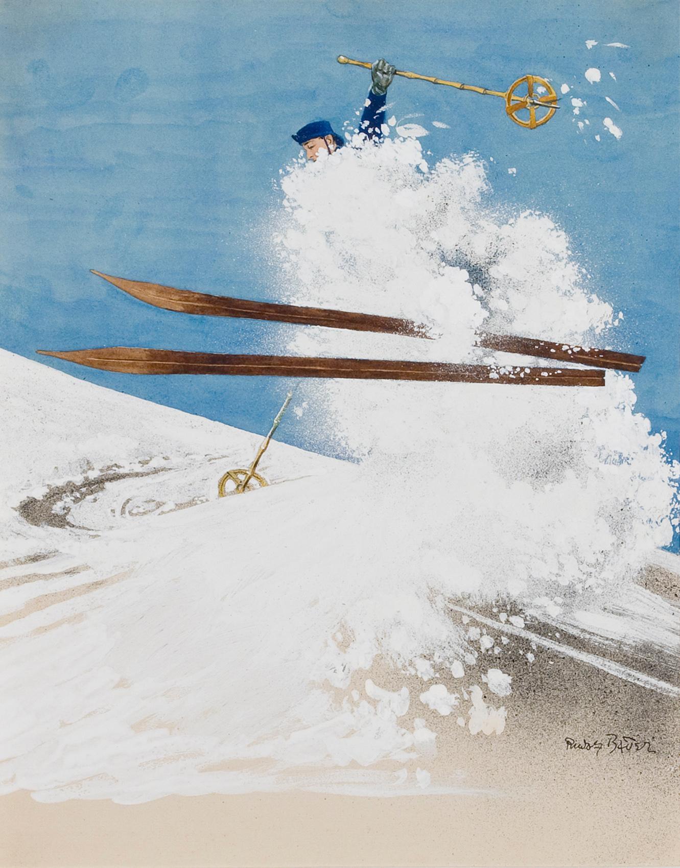 Untitled (Skier) - Rudolf Bauer, skiing, snow, modern, illustration, design