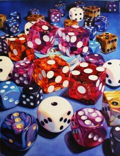 Golden Dollar - Kate Brinkworth, photorealist, dice, casino, painting, money