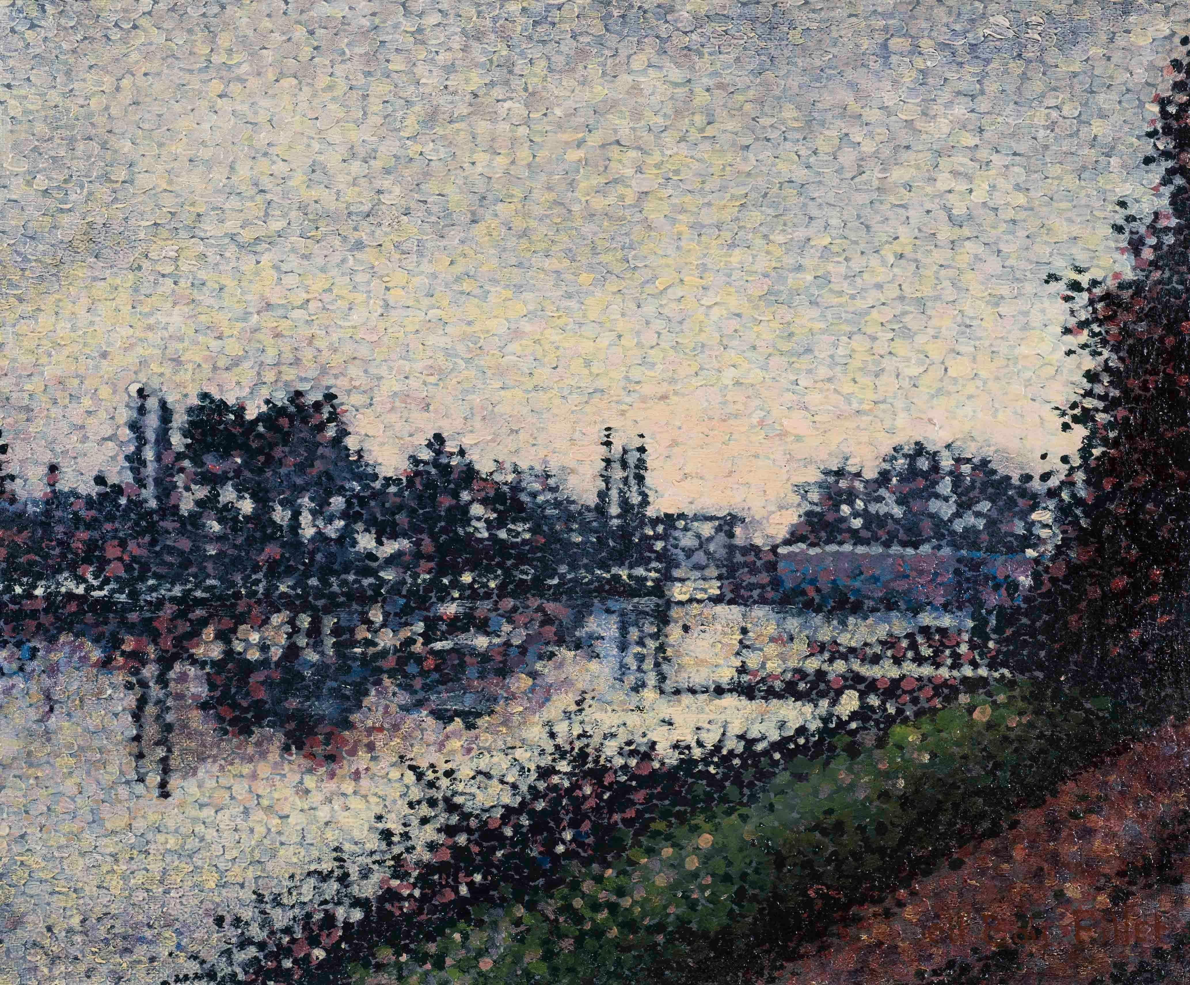 Paysage à l'Ècluse - Albert Dubois-Pillet, landscape, small, painting, french