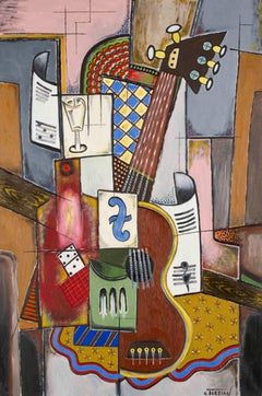 La guitare au domino - Georges Terzian, contemporary, cubist, painting, guitar