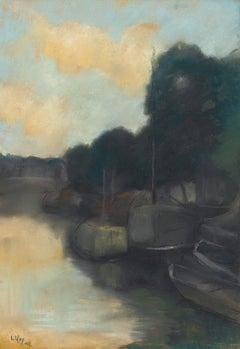 Lesser Ury - Auf dem kanal, impressionist, pastel, german, waterscape, canal