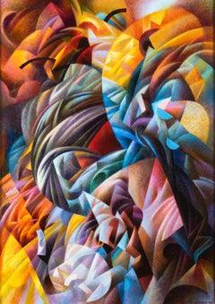 Ivan Turetskyy - Euphoria, painting, contemporary, futurist, abstract, movement