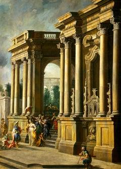 Vittorio Maria Bigari - An architectural capprichio with elegant figures