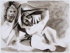 Pablo Picasso - Homme et femme nus, nude, ink, paper, picasso, erotic, figures