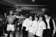 Ali vs The Beatles - Chris Smith, black & white, muhammad ali, beatles, 50x92 in