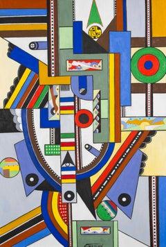 La boule rouge - Georges Terzian, contemporary, cubist, painting, modern