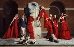 Lorenzo Agius - Valentino with models, photography, color, photoshoot, 48x60 in