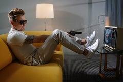 Lorenzo Agius - Ewan with gun, color, british, Ewan McGregor, modern, 48x60 in