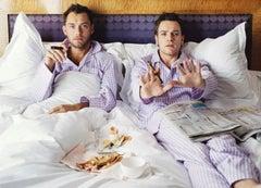 Lorenzo Agius - Jude and Ewan in Bed, jude law, ewan mcgregor, british, 48x60 in