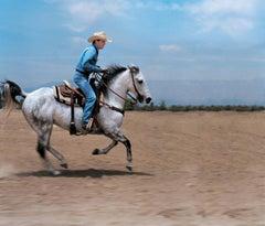 Lorenzo Agius - Kiefer Sutherland, colour, horse, riding, western, 48x60 in