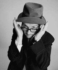 Lorenzo Agius - Elvis Costello, british, portrait, black and white, 60x48 in.