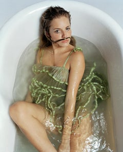 Lorenzo Agius - Sienna Miller, color, portrait, figure, bath, water, 24x20 in.