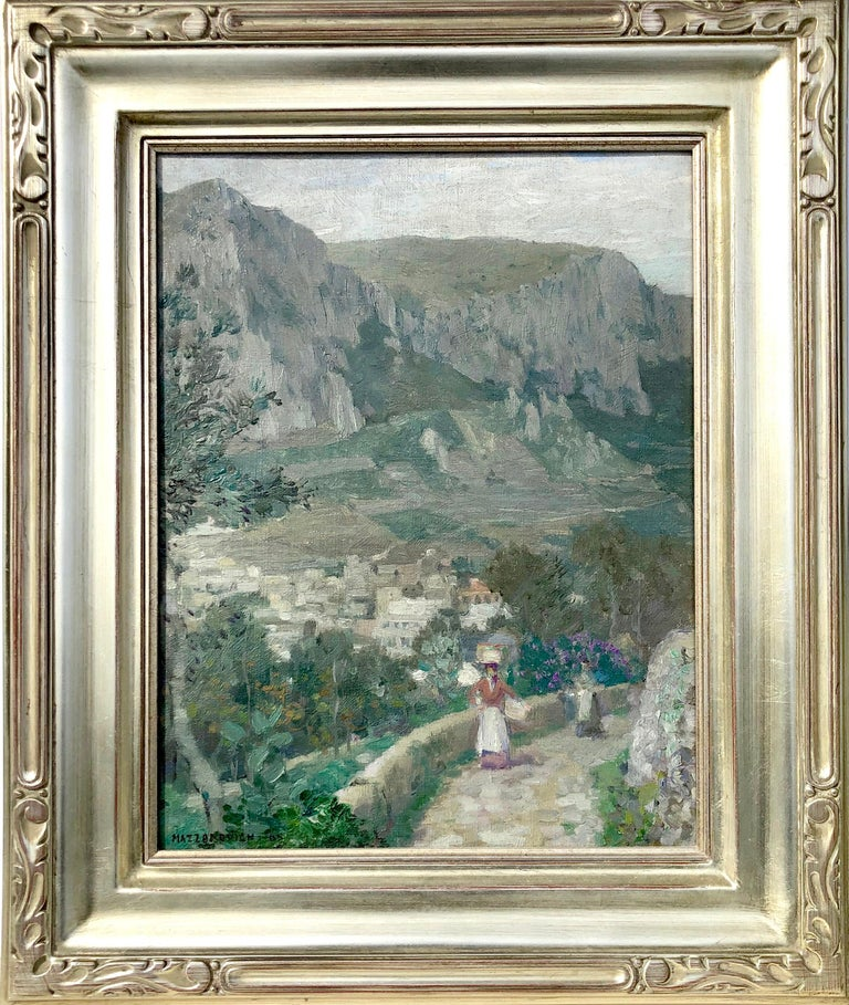 Lawrence Mazzanovich Landscape Painting - Along the Mountain Path, Village in the Valley Below