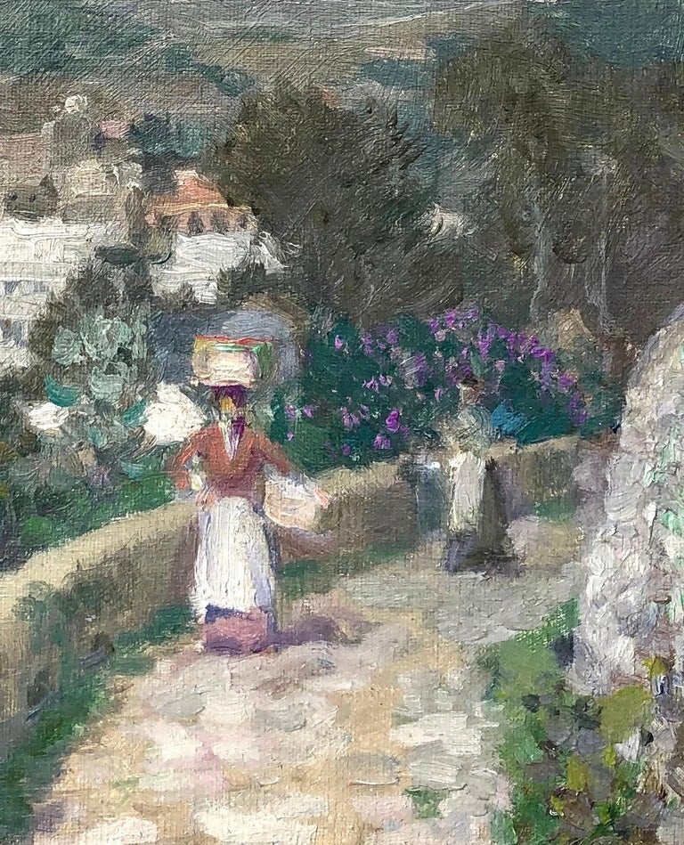 Along the Mountain Path, Village in the Valley Below - Abstract Impressionist Painting by Lawrence Mazzanovich