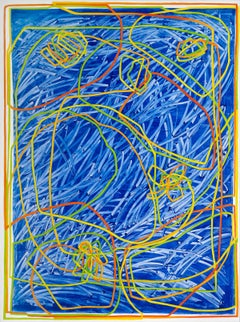 Cleopatra II - contemporary abstract painting w/ blue, red, green & yellow lines