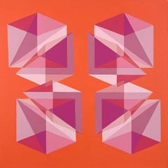 Abstract geometric Op Art painting w/ pink, magenta & orange cubes & pyramids