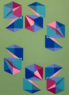 Contemporary geometric abstract painting w/ green, pink & blue cubes & pyramids